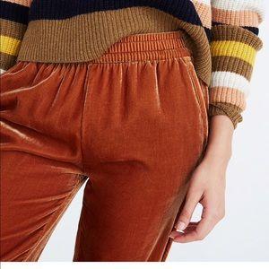 Madewell track trousers in velvet burnt orange